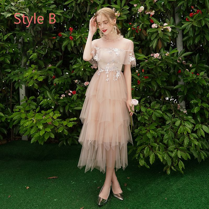 Modern / Fashion Pearl Pink Bridesmaid Dresses 2019 A-Line / Princess Appliques Lace Tea-length Cascading Ruffles Backless Wedding Party Dresses