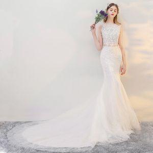 2 Stück Strand Brautkleider 2017 Weiß Mermaid Kathedrale Schleppe Eckiger Ausschnitt Ärmellos Mit Spitze Applikationen