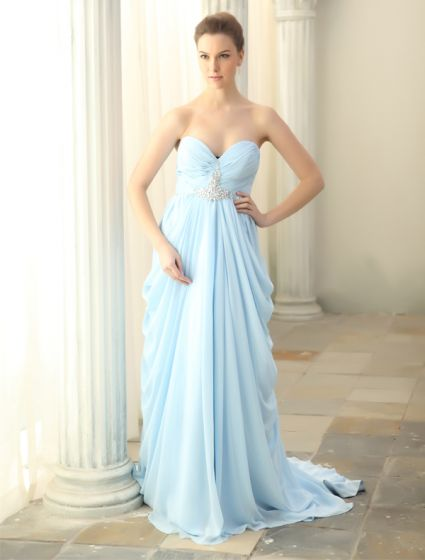 2015 Simple Sweetheart Ruffles Sky Blue Evening Dress