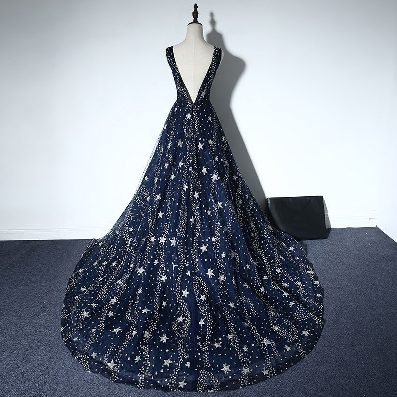 Sparkly Evening Party Formal Dresses 2017 Evening Dresses  Navy Blue A-Line / Princess Chapel Train Sleeveless Scoop Neck Backless Beading Rhinestone