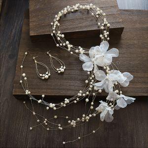 Eleganckie Kość Słoniowa Kwiat Jedwabiu Opaski na głowę Ozdoby Do Włosów Ślubne 2020 Stop Perła Kolczyki Ozdoby Do Włosów Biżuteria Ślubna