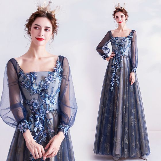 Vintage Marineblau Ballkleider 2020 A Linie Eckiger Ausschnitt Glanz Spitze Blumen Strass Lange Ärmel Rückenfreies Lange Festliche Kleider