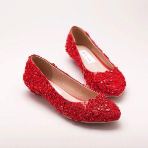 Red Fond Plat Chaussures De Mariée / Chaussures De Mariage / Chaussures Femme
