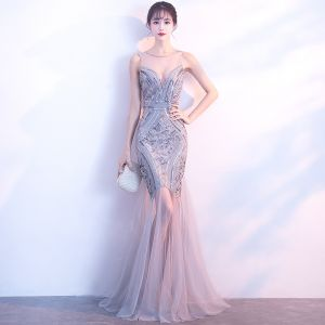 Sexy Silver Evening Dresses  2017 Trumpet / Mermaid Scoop Neck Sleeveless Sequins Floor-Length / Long Backless Pierced Formal Dresses