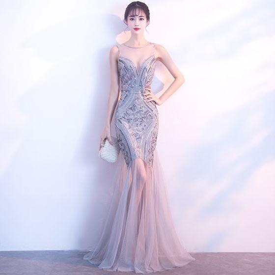 Sexy Silver Evening Dresses  2017 Trumpet / Mermaid Scoop Neck Sleeveless Sequins Floor-Length / Long Backless Pierced Formal Dresses