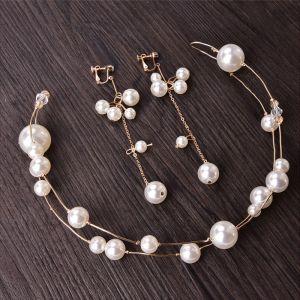 Erschwinglich Gold Perle Brautschmuck 2020 Metall Kopfschmuck Ohrringe Haarschmuck Braut