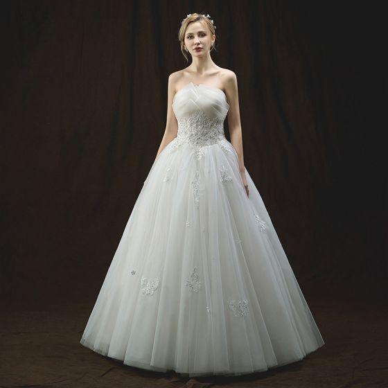 Chic / Belle Ivoire Robe De Mariée 2018 Princesse Unique Amoureux Sans Manches Dos Nu Appliques Fleur Perle Perlage Paillettes Longue Volants