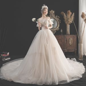 Charming Champagne Wedding Dresses 2019 A-Line / Princess Spaghetti Straps Beading Sequins Lace Flower Short Sleeve Backless Cathedral Train