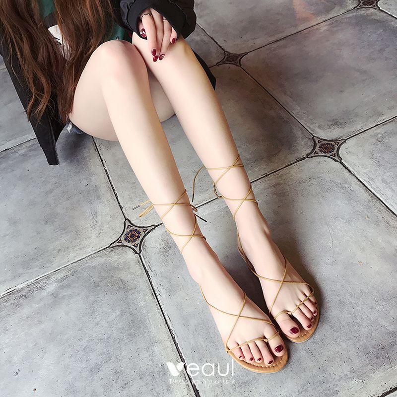 Chic / Beautiful 2017 Black Brown Beach Casual PU Summer Strappy Flat Flat Sandals Open / Peep Toe Womens Sandals