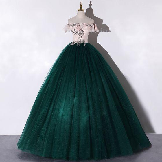 Hermoso Verde Oscuro Bailando Vestidos de gala 2020 Ball Gown Fuera Del Hombro Manga Corta Apliques Con Encaje Flor Lentejuelas Rebordear Perla Largos Ruffle Sin Espalda Vestidos Formales