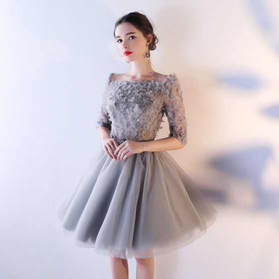 Chic / Beautiful Grey Homecoming Graduation Dresses 2017 A-Line / Princess Lace Sequins Artificial Flowers Square Neckline Short 1/2 Sleeves Formal Dresses
