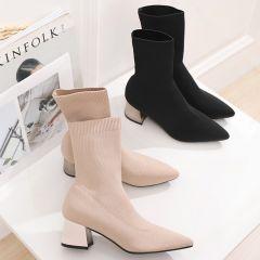 Edles Schwarz Freizeit Flechten Stiefel Damen 2020 5 cm Thick Heels Spitzschuh Stiefel