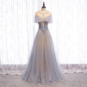 Charming Grey Prom Dresses 2020 A-Line / Princess Scoop Neck Beading Appliques Lace Flower Rhinestone Sequins Short Sleeve Backless Floor-Length / Long Formal Dresses