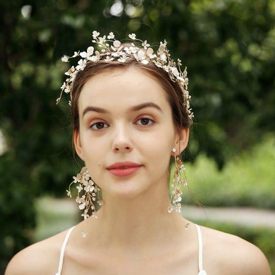 Elegant Gold Bridal Jewelry 2020 Alloy Rhinestone Flower Headpieces Earrings Bridal Hair Accessories