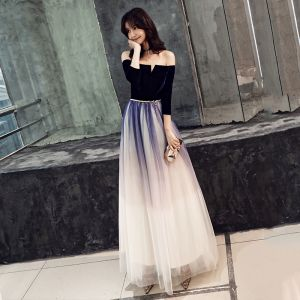 Elegant Gradient-Color Navy Blue Evening Dresses  2019 A-Line / Princess Suede Off-The-Shoulder Metal Sash 3/4 Sleeve Backless Floor-Length / Long Formal Dresses