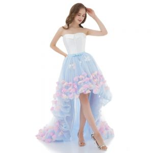 High Low White Sky Blue Cocktail Dresses 2018 Ball Gown Sweetheart Sleeveless Multi-Colors Appliques Flower Bow Sash Asymmetrical Ruffle Backless Formal Dresses