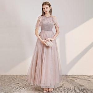 Élégant Rougissant Rose Robe De Soirée 2020 Princesse Encolure Dégagée Manches Courtes Perlage Ceinture Glitter Tulle Longue Volants Dos Nu Robe De Ceremonie