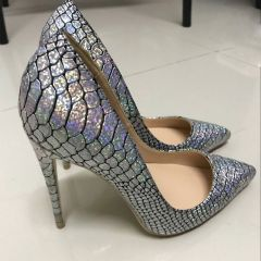 Amazing / Unique Silver Rave Club Pumps 2019 Snakeskin Print Leather 12 cm Stiletto Heels Pointed Toe Pumps