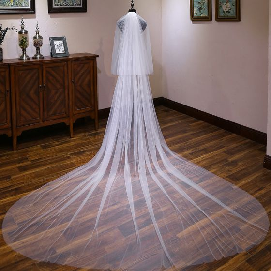 Modest / Simple White 3 m Tulle Church Chapel Train Wedding Veils 2019
