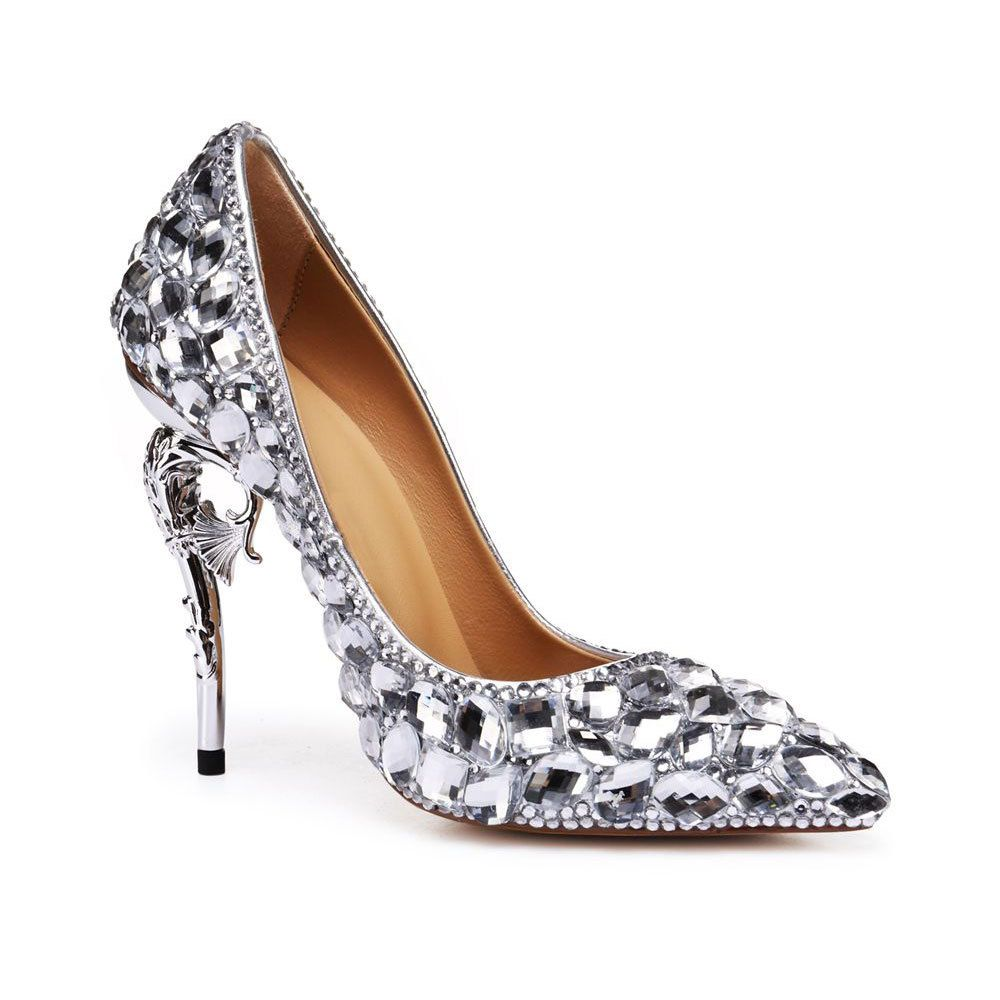 Charming Silver Wedding Shoes 2020 Rhinestone 11 cm Stiletto Heels Pointed Toe Wedding Pumps