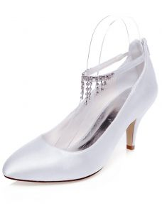 Vintage Satin Wedding Shoes 3 Inch Stiletto Heels Pumps White Bridal Shoes Ankle Strap With Tassel