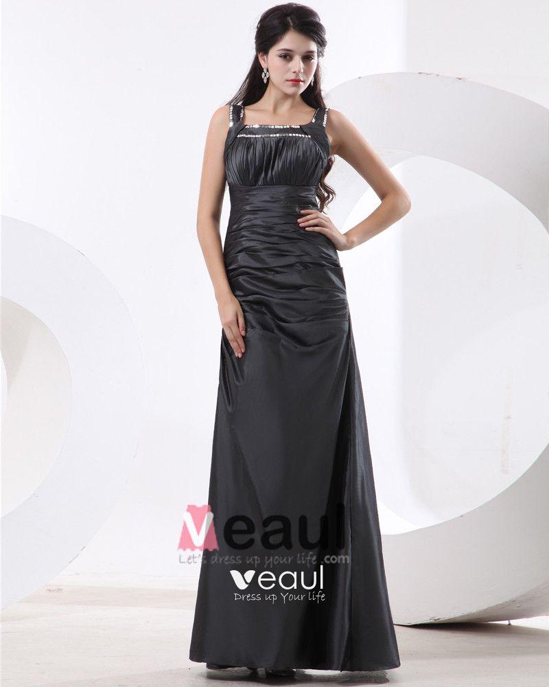 Women Taffeta Shoulder Straps Floor Length Bridesmaid Dresses