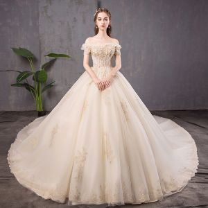 Elegant Champagne Wedding Dresses 2019 Ball Gown Off-The-Shoulder Beading Pearl Lace Flower Sequins Short Sleeve Backless Cathedral Train