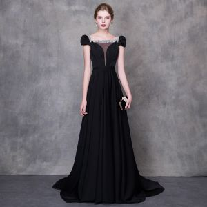 Chic / Beautiful Black Evening Dresses  2018 A-Line / Princess Beading Rhinestone Square Neckline Cap Sleeves Chapel Train Ruffle Backless Formal Dresses