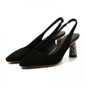 Modest / Simple Black Casual Suede Womens Shoes 2020 6 cm Thick Heels Pointed Toe Heels