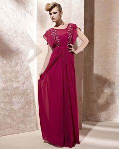 Scoop Neck Beading Ruffle Shorts Sleeve Zipper Floor Length Charmeuse Woman Evening Dress