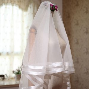 Modest / Simple White Wedding Short Striped Tulle 1.5 m Wedding Veils 2018