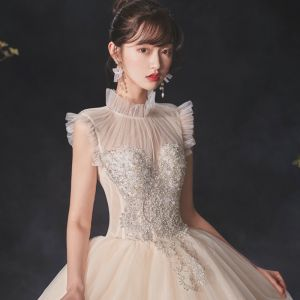 Vintage / Retro Champagne See-through Bridal Wedding Dresses 2020 Ball Gown High Neck Sleeveless Backless Beading Pearl Glitter Tulle Sequins Cathedral Train Ruffle