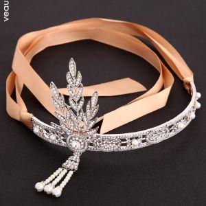 Elegant Silver Wedding Headbands Bridal Hair Accessories 2020 Metal Lace-up Pearl Rhinestone Headpieces Accessories