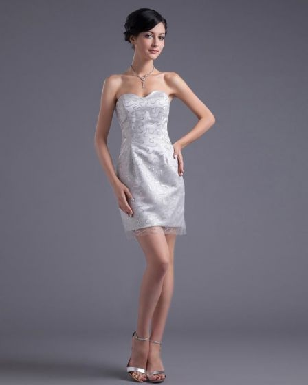 Vestido De Cóctel De Longitud Del Muslo Hilo De Satén De Moda Paillette Novia