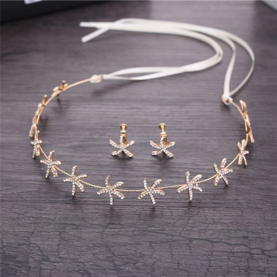 Modest / Simple Gold Bridal Jewelry 2018 Metal Rhinestone Earrings Lace-up Headpieces Accessories