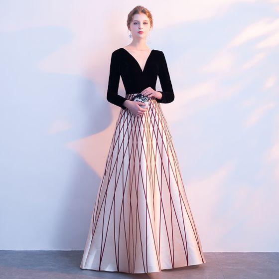 Elegant Sorte Selskabskjoler 2018 Prinsesse Stribet Pierced Scoop Neck Halterneck Ankel Længde Langærmet Kjoler