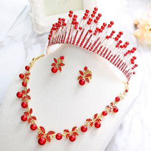 Chic / Beautiful 2017 Red Silver Crystal Rhinestone Metal Tiara Bridal Jewelry