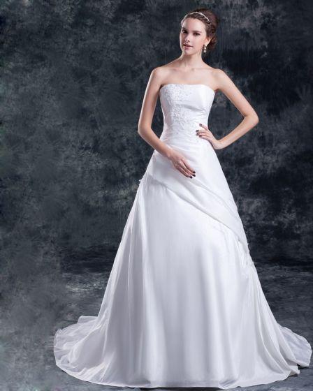 Taft Pailletten Applique-gerichts-zug Trägerlosen Abendkleid Frauen A Linie Brautkleider