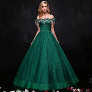 Luxury / Gorgeous Dark Green Prom Dresses 2017 A-Line / Princess Tulle Backless Beading Rhinestone Evening Party Formal Dresses
