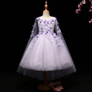 Schöne Lavendel Mädchenkleider 2017 Ballkleid Mit Spitze Applikationen Rundhalsausschnitt Rückenfreies Ärmellos Wadenlang Kleider Für Hochzeit