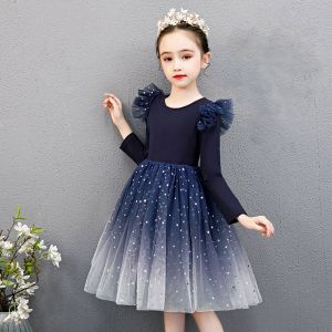 Affordable Navy Blue Birthday Flower Girl Dresses 2020 Ball Gown Scoop Neck Long Sleeve Star Sequins Knee-Length Ruffle