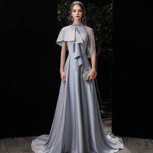 Mode Silver Charmeuse Aftonklänningar 2020 Prinsessa Hög Hals 1/2 ärm Beading Svep Tåg Ruffle Formella Klänningar
