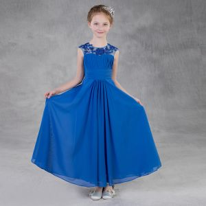 Modest / Simple Royal Blue Chiffon Flower Girl Dresses 2018 Empire Pierced Scoop Neck Short Sleeve Sleeveless Beading Sequins Floor-Length / Long Ruffle Backless Wedding Party Dresses