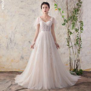 Elegant Champagne Wedding Dresses 2018 A-Line / Princess Lace V-Neck Backless Short Sleeve Court Train Wedding