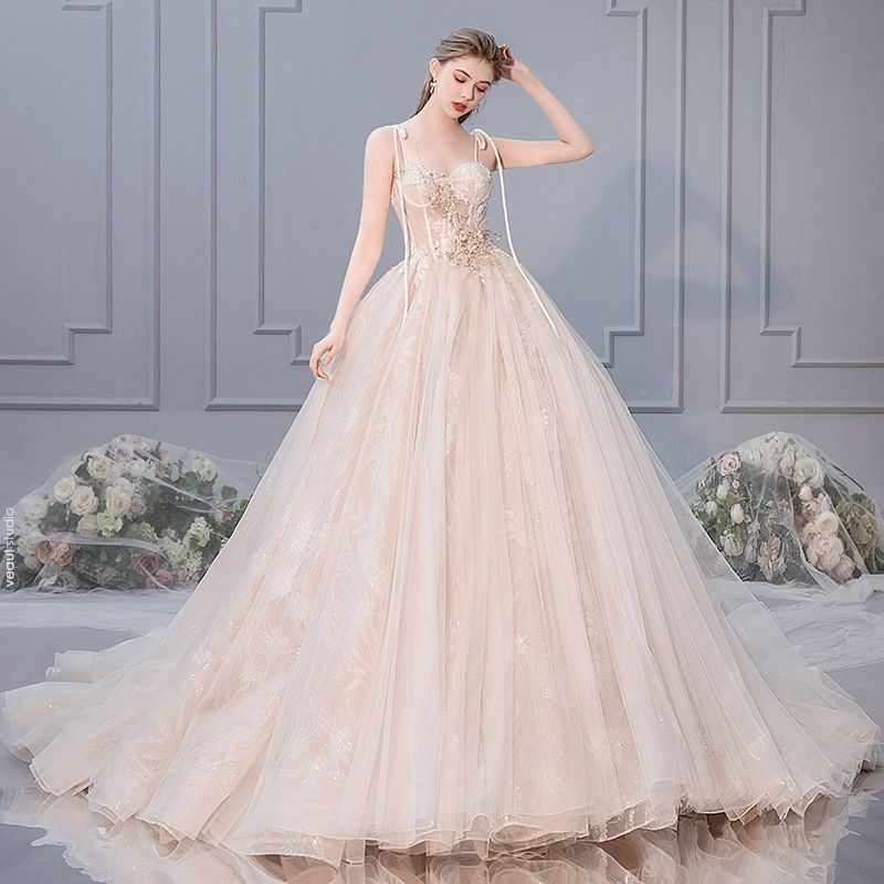 Elegant Champagne Wedding Dresses 2019 Ball Gown Spaghetti Straps Bow Beading Rhinestone Pearl Lace Flower Appliques Sleeveless Backless Royal Train