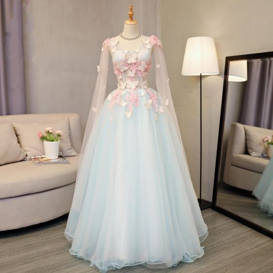 Flower Fairy Sky Blue Prom Dresses 2018 A-Line / Princess Appliques Sequins V-Neck Backless Long Sleeve Floor-Length / Long Formal Dresses