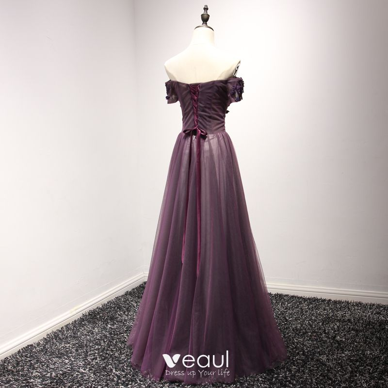 Chic / Beautiful Formal Dresses Evening Dresses  2017 Grape A-Line / Princess Floor-Length / Long Off-The-Shoulder Short Sleeve Backless Pearl Lace Appliques Beading