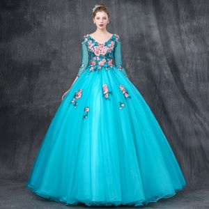 Chic / Beautiful Jade Green Prom Dresses 2019 Ball Gown V-Neck 3/4 Sleeve Appliques Lace Pearl Rhinestone Floor-Length / Long Ruffle Backless Formal Dresses