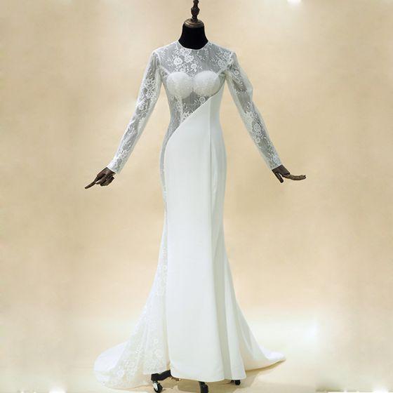Amazing / Unique White Wedding Dresses 2017 Trumpet / Mermaid Scoop Neck Charmeuse Lace Backless Pierced Wedding Evening Party Wedding Party Dresses