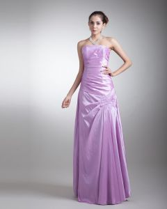 Taffeta Ruffle Sequins Strapless Floor Length Bridesmaid Dress